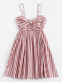 Shop Knot Front Striped Cami Dress at ROMWE, discover more fashion styles online. Chic Outfits, Pretty Outfits, Pretty Dresses, Dress Outfits, Girl Outfits, Fashion Outfits, Outfits For Teens, Casual Dresses For Women, Summer Outfits