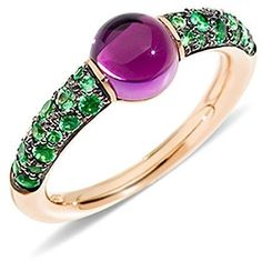 Pomellato M'ama Non M'ama Ring with Amethyst and Tsavorite in 18K Rose Gold