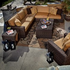 Great Wicker Sectional Patio Furniture Sets on Mediterranean Deck