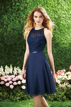 High Neck Knee Length Chiffon and Lace Bridesmaid Dress - Uniqistic.com