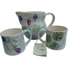 Hand Painted Laura Ashley 1993 Pitcher and Mugs 40th Anniversary Gift Set England  offered by rubylane shop Saltymaggie's Treasures.
