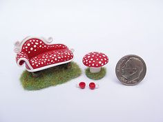 Miniature polymer clay fairy furniture by fizzyclaret