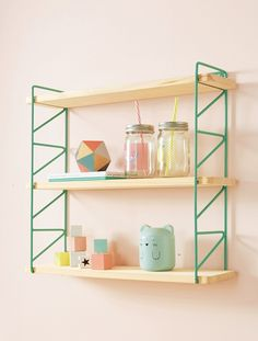 This shelf is practical to have books, teddies and favourite toys at hand. Your children will love it! o wall mounting system o removable wood board Metal structure. Wooden Shelves, Wall Shelves, Shelving, Nursery Shelves, Apartment Furniture, Cool Walls, Simple Designs, Kids Room, Metal Structure