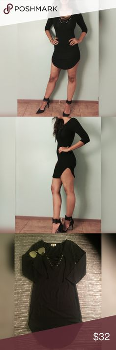 FLASH SALETie  up tunic t shirt dress Model is 5'11 wearing a size small. This is a short t shirt dress with lace up in the front. Only have black. Bundle to get a discount Dresses