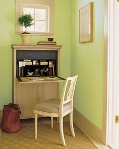 Unlock the hidden potential of forgotten space by turning it into a mini office. Unused spaces like the corner of a bedroom or living room, a nook, under the stairway, or a dead-end hallway, can be more than dead space to hang wall decor. Wall-mounted desks, secretary desks, or built-in secretaries can turn any area into a mini office. Extremely functional and compact, these versions of the classic secretary hide office clutter in a snap.