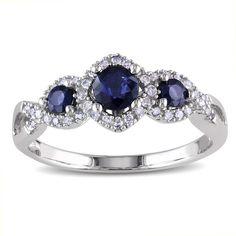 Miadora 10k White Gold Sapphire and 1/8ct TDW Diamond 3-stone Engagement Ring (G-H, I2-I3) | Overstock.com Shopping - The Best Deals on Gemstone Rings