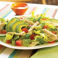 Chicken and Avocado Salad. Tangy lime, aromatic cilantro, and creamy avocado give this refreshing salad a deep Mexican flavor; chicken turns it into a satisfying one-dish meal for lunch or dinner.