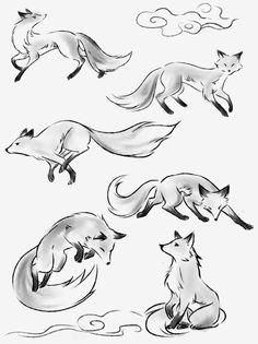 Cute Animal Drawings, Animal Sketches, Cool Art Drawings, Art Drawings Sketches, Drawing Animals, Cute Fox Drawing, Fuchs Illustration, Fox Art, Art Reference Poses