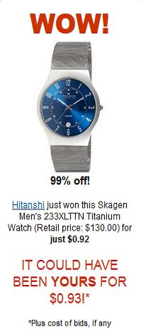 Skagen Men's Titanium Watch for $0.92 Wow!