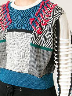 Toga Pulla Cropped Intarsia Sweater - Feathers - Farfetch.com
