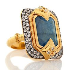 Rarities: Fine Jewelry with Carol Brodie 11.9ct Labradorite and White Topaz Art Deco Ring at HSN.com.