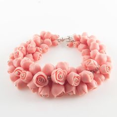 Perfect gift for sister. The cutest Bracelet in the world. – Sterling Silver Bracelet with Porcelain Flowers/roses – a unique product by MaaPstudio via en.DaWanda.com