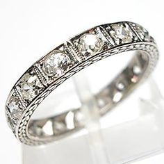 ART DECO ANTIQUE OLD MINER CUT DIAMOND ETERNITY BAND RING SOLID PLATINUM