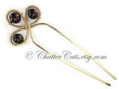 Garnet Trinity Hair Fork Brass Garnet Bun Holder Wire Wrap Gemstone U Shaped Hair Pin Garnet Gold Hair Stick Gem Hair Clip Gift for Women