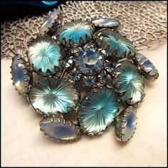 Schreiner Pin Aqua Camphor Pillow Glass Brooch 1950s Vintage Jewelry