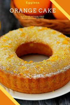 Vegan Orange Cake Recipe, Healthy Orange Cake, Eggless Orange Cake, Eggless Vanilla Cake Recipe, Eggless Desserts, Eggless Recipes, Eggless Baking, Healthy Cake, Vegan Desserts