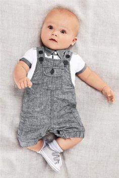 - Little Gentleman T-shirt + Overalls set Material: Cotton