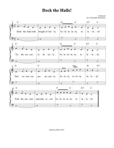 deck the halls sheet music and song for christmas beginner piano music easy piano