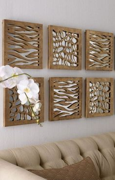 Animal Pattern Mirrored Panels ~ diy inspiration using cut cardboard, foam core or mdf over mirrored tiles. So I hate animal print, but the decorating idea. Blank Wall Solutions, Spiegel Design, Designer Spiegel, Diy Casa, Metal Tree Wall Art, Traditional Artwork, Home And Deco, Mirror Panels, Wall Mirror