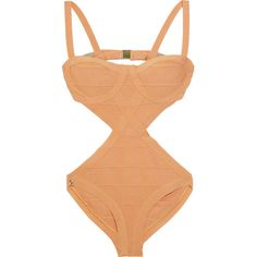 Hervé Léger Cutout bandage swimsuit (235.860 CRC) ❤ liked on Polyvore featuring swimwear, one-piece swimsuits, swimsuits, swim, bikini, bathing suits, cut out swimsuit, bandage bikini, cut-out bikinis and bandage one piece swimsuit