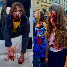 Zombies & The City: Walking Deads demonstrating in Le Marais this afternoon, protesting against the high price of blood. You miss the sound, should have made a video:) (à Rue de Turenne)