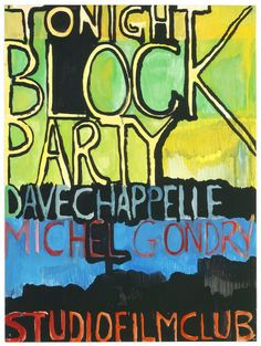 """""""'BLOCK PARTY' BY MICHEL GONDRY AND DAVE CHAPELLE"""" 2006 [""""Dave Chapelle's Block Party"""" USA 2006, 114', D/ R: Michel Gondry] Sammlung Ringier oil on paper 69 x 51 cm / 27 x 20"""" PETER DOIG."""