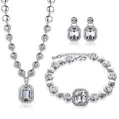 Precio de la oferta EUR 53,53GoSparking cristal claro del oro blanco 18K plateó la aleación fijó con el cristal austríaco para las mujeres