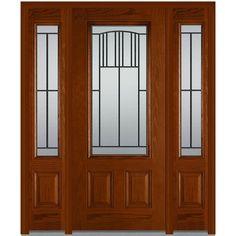 Milliken Millwork 64.5 in. x 81.75 in. Madison Decorative Glass 3/4 Lite Finished Fiberglass Oak Exterior Door with Sidelites, Warm Chestnut