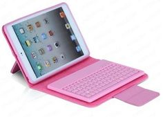 Bluetooth Removable Keyboard and Leather Case for iPad Mini (Pink)
