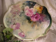 """Gorgeous Limoges France ROSES Hand Painted """"One-of-a-Kind"""" Large Dresser Serving Tray Vintage Victorian Floral Art China Painting upon Porcelain French Romantic Handpainted Art Treasure Jean Pouyat circa 1900"""