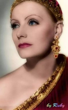 A beautiful color photo of Greta Garbo