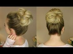 2-Minute BUBBLE BUN Hairstyle   Easy Hairstyles for Medium Long Hair - YouTube