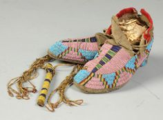 Native American Moccasins | Native American Beaded Awl Case & Moccasins
