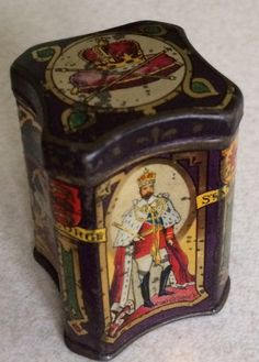 Miniature tea sample tin with pictures of the coronation of King George V and Queen Mary 1911