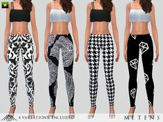 - Third set of leggings with beautiful black and white patterns for more style and more choice!  Found in TSR Category 'Sims 4 Female Leggings'