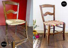 Antes y después. Una silla rústica · Before & after. A rustic chair | Blog DIY decoración