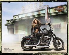 Supermodel Marisa Miller on Harley-Davidson in the California desert