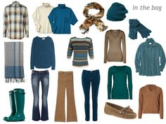 Plaid shirt – Marc Jacobs, Butterfly scarf – Ollie & Nic, teal sweater – Chinti & Parker, cotton turtlenecks – L.L.Bean, tan sweater – Closed, wool hat – Antonio Marras, gloves – Jane Norman, boots – Hunter, jeans – Oasis, striped sweater – Diane de Clercq, teal tee shirt – Tillys, tan corduroy flairs – J Brand, teal corduroy pants – J Brand, striped scarf – Nicole Farhi, teal corduroy shirt – L.L.Bean, driving mocs – Calvin Klein, sweater – Etro