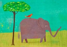 Oopsy Daisy Elephant and Red Bird Wall Art, 14 by 10 by Oopsy Daisy, http://www.amazon.com/dp/B0054QPDUM/ref=cm_sw_r_pi_dp_cTBvsb0CBAMZP
