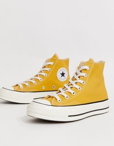 Buy Converse Chuck Hi Sunflower Yellow trainers at ASOS. Get the latest trends with ASOS now. Converse All Star, Converse Outfits, Mode Converse, Yellow Converse, Converse Style, Converse Sneakers, Converse High, Custom Converse, Converse Chuck Taylor High