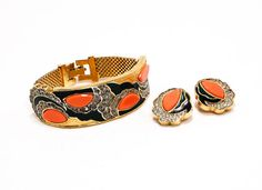 Hollywood Regency Art Deco Style Bracelet and Earring Set by Joseph Mazer Jomaz Demi Parure Rhinestones and Coral, Black and Green Enamel