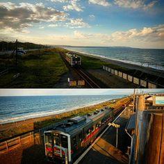 【danbayusuke】さんのInstagramをピンしています。 《2016.10.14 Friday 『北浜駅展望台』  喫茶店のある浜辺の無人駅  2時間に1本の電車が来るので少し待ち‥スタンバる😁  夕焼けの網走港と能取岬反対側には知床連山が浮かんでる…✨ (少し電線が邪魔だな😅💦) 雪が積もると良くTVで見る風景になるんだろ~ね😊  #北海道#オホーツク海#網走市#ビーチ#電車#北浜駅#景色#夕焼け#海#空 #japantour#travel#Hokkaido#Abashiricity#Kitahamastation#train#landscape#sea#sunset#sky》