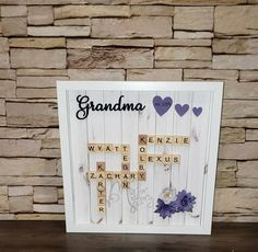 Scrabble Tile Frame for Grandparents | Etsy Scrabble Letters, Scrabble Tiles, Frame Sizes, Wall Spaces, Grandparents, Shadow Box, Brown And Grey, No Response, Color Schemes