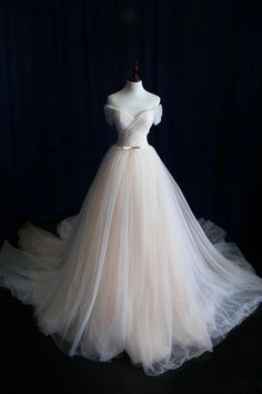 Elegant Off-shoulder Tulle Pleat Wedding Gowns,Sweep Train V Neck Wedding Dress,OMW20  Wedding Gowns, Cheap Wedding Dress, Beach Wedding Dress, Formal Dress, Bridesmaid Dress, Simple Wedding Dress.