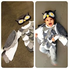 Mom-made owl costume- Scalloped feathers on long sleeved bodysuit, Felt wings, felt eyes glued to soft beanie cap, sweatpants.