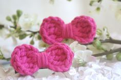 NEW Crochet Hair Clips Crochet Bow Barrettes Hot Pink by bummybaby, $7.00