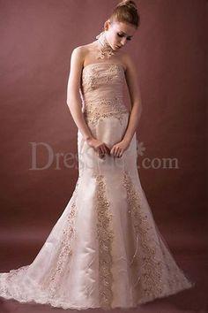 Pink Lace Embellished Mermaid Wedding Dress