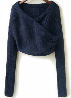 Blue Long Sleeve Crop Knit Sweater