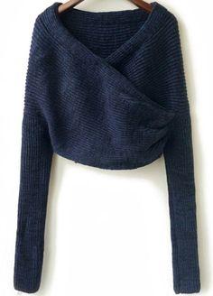 Blue Long Sleeve Crop Knit Sweater