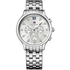 Tommy Hilfiger Silver Bracelet Watch found on Polyvore featuring jewelry, watches, silver watch bracelet, dress watches, silver wrist watch, water resistant watches and silver jewelry